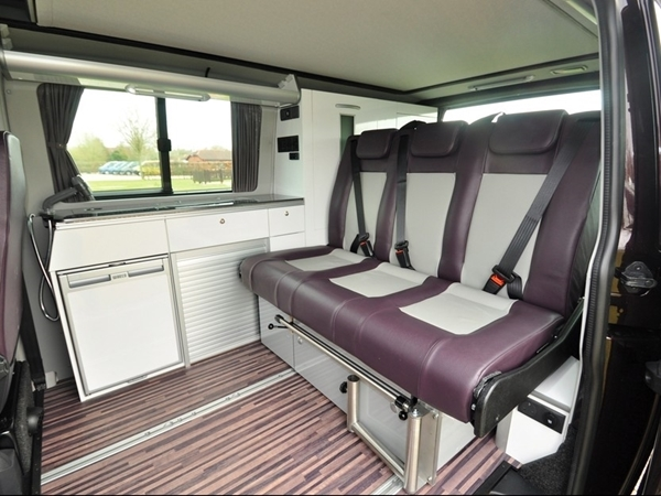 Picture of Triostyle for T6 SWB in glossy white cabinets & dark grey leatherette rear seat (upgrade from Apple & Grey)